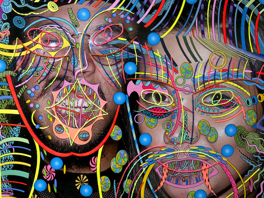 Colorful lines over 2 faces