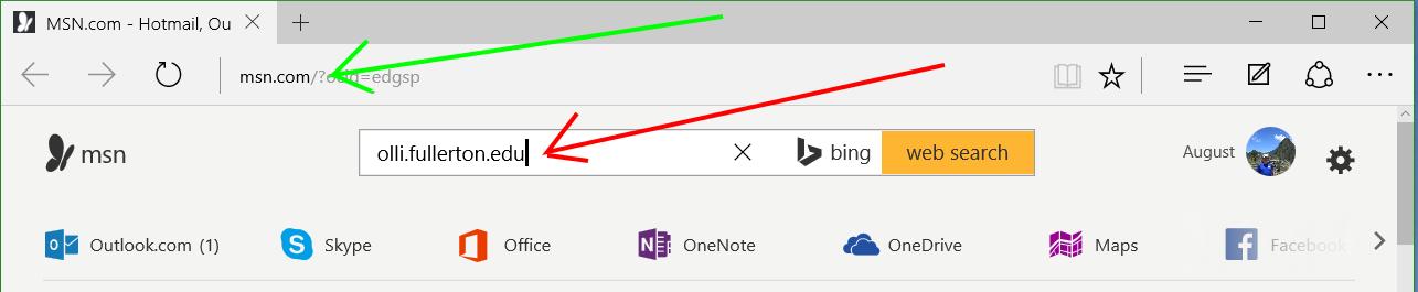 Edge with URL