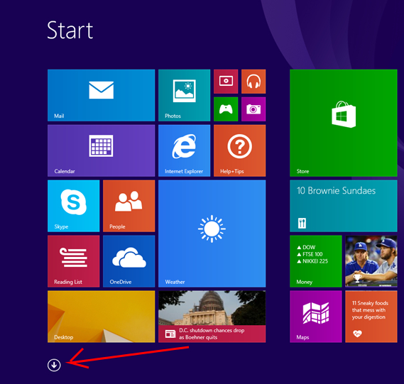 Win 8 Apps Arrow
